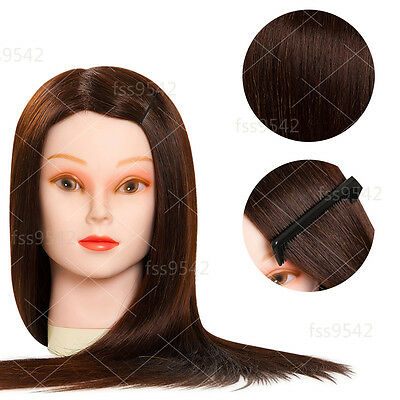 """90% Long Brown Hair 22"""" Hairdressing Mannequin Head Cosmetology School Student"""