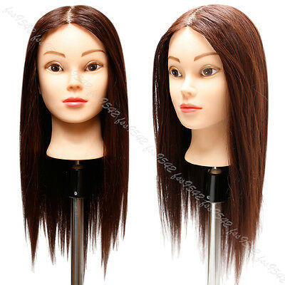 90% Real Brown Hairdressing Mannequin Head 22'' Hairdresser Training Doll