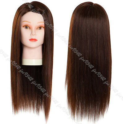 """90% Long Hair Hairdressing Training Head 22"""" Cosmetology Mannequin Head Dummy"""