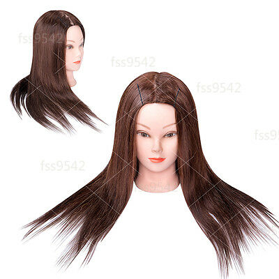 """90% Real Hair Hair styling Training Head 22"""" Hairdressing Mannequin Head"""