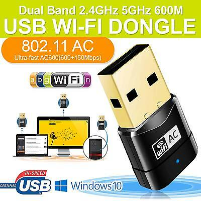 New Wireless Dual Band 2.4G 5G 5GHz 802.11AC USB Wifi Dongle Network Adapter UK