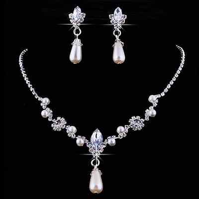 Bridal Wedding Party Jewelry Set Crystal Rhinestone Faux Pearl Necklace&Earrings