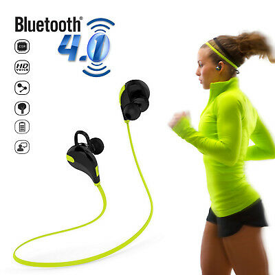 Cuffie Cuffiette Sport Audio Auricolari Bluetooth Wireless Iphone Android Verde