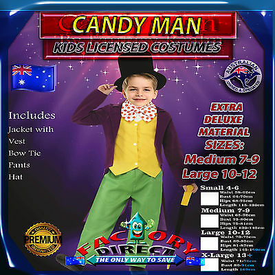 Licensed Deluxe Kids Candy Man Willy Wonka Roald Dahl Fancy Dress Costume Book