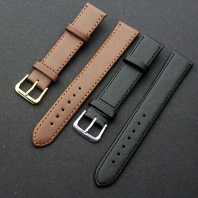 Quality Leather Black Brown Wristwatch Watch Strap Band Womens Mens