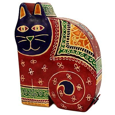 Fun large red cat leather money box,cat gift,cat figurine.
