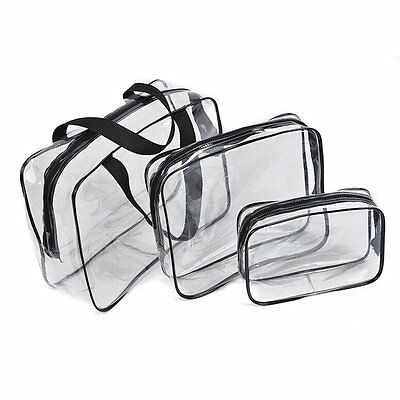 Hot 3pcs Clear Cosmetic Toiletry PVC Travel Wash Makeup Bag (Black) SH
