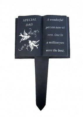 Slate Grey Memorial Book Stake – Dove Detail – Grave Plaque Spike Marker Tribute