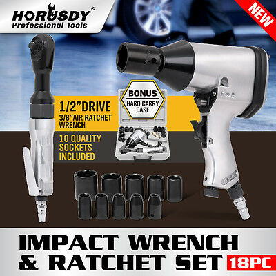 New 18Pc Air Impact Ratchet Wrench Kit Rattle Gun Sockets Tool Set Pneumatic Car