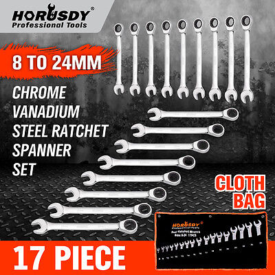 17Pc Ratchet Spanner Set Metric Combination Wrenches Open End Ring CR-V 8-24mm