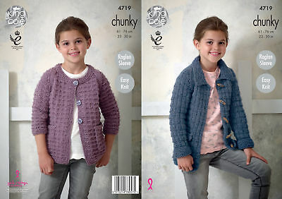 King Cole Girls Chunky Knitting Pattern Easy Knit Raglan Sleeve Jackets 4719