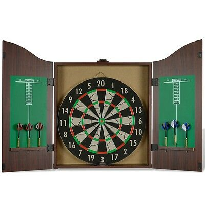 New Dart Cabinet Set Scoreboard Dartboard Game Room with Realistic Walnut Finish