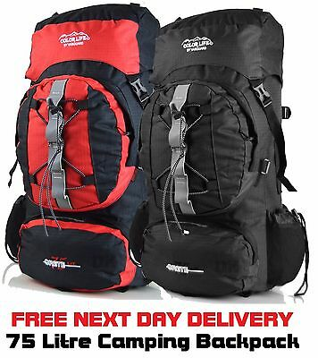 75 Litre Extra Large Camping Hiking Outdoor Backpack Rucksack Luggage Bag trave