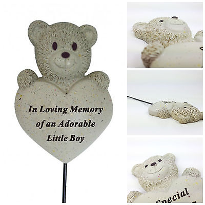 Teddy Bear Heart Stick, Grave Side Child Memorial Remembrance Tribute Spike