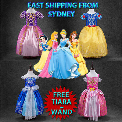 Kids Girls Princess Costume Fairytale Dress Sofia Cinderella Aurora Rapunzel