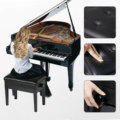 Luxury PU Leather Storage Adjustable Height Padded Seat Keyboard Piano Bench