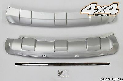 For Kia Sportage 2010 - 2015 Front & Rear Bumper Silver Skid Plate Set