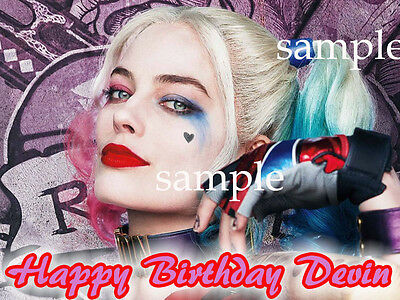 HARLEY Quinn Edible Birthday CAKE Decoration Image Icing Topper FREE SHIPPING