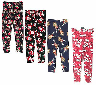 Girls Leggings Festive Christmas Rudolph Santa Owl Hat Prints 2-13Y Bnwt