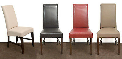 NEW dining chair high back faux leather restaurant cafe - dark wood frame