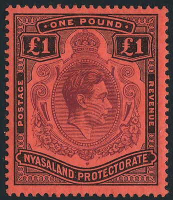 Nyasaland SG 143 1938-44 £1 purple & black. Mint. Catalogue Value £50