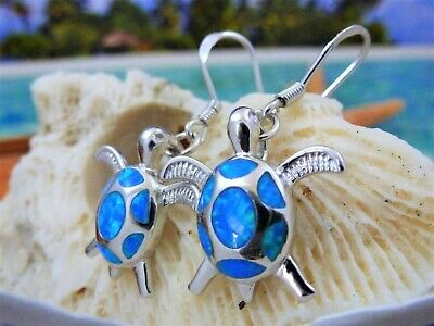 Brilliant Sterling Silver Sea Turtle Dangle Earrings With Blue Fire Opal Inlay