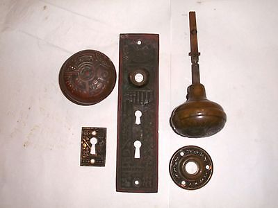 Antique Eastlake Door Knob Set Knobs, Rosette, Key Hole, And Backplate