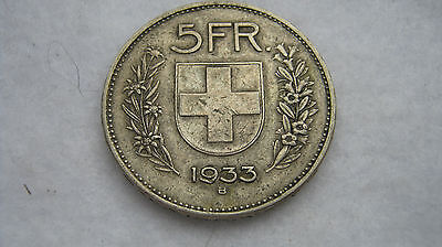 1933 5 Franc silver coin from Switzerland. (F190)