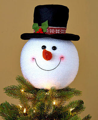 SNOWMAN Christmas Tree Topper Holiday Indoor Happy Face Black Hat Frosty Decor