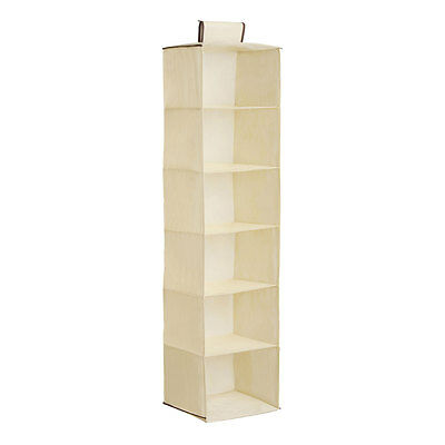 6 Section Hanging Garment Organiser Wardrobe Room Storage Shoe Clothes Shelves