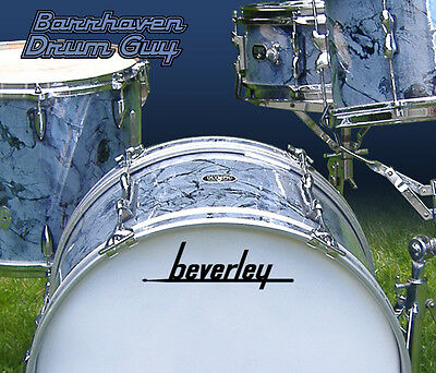 Beverley, Vintage, Repro Logo - Adhesive Vinyl Decal, for Bass Drum Reso Head