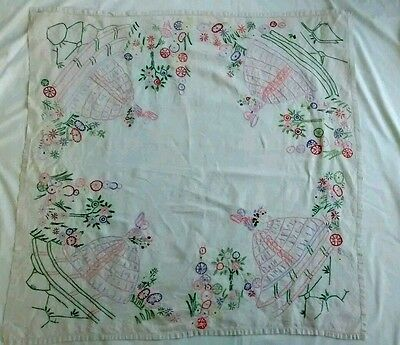 Vintage Handmade Figural Bonnet Lady Embroidered Square Linen Tablecloth
