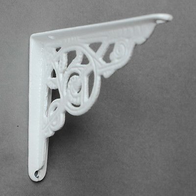 "2 x WHITE 5x4"" SMALL ANTIQUE CAST IRON VICTORIAN WALL SHELF BRACKETS - BR02wx2"