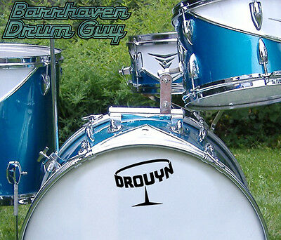 Drouyn, Vintage, Repro Logo - Adhesive Vinyl Decal, for Bass Drum Head