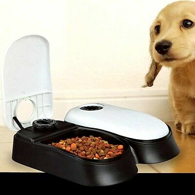 Automatic Pet Feeder 2 Meals Dog Cats Kitten Puppy Wet Dry Food Easy Clean NEW