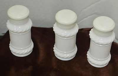 Set of 3 Milk White Glass Spice Shakers