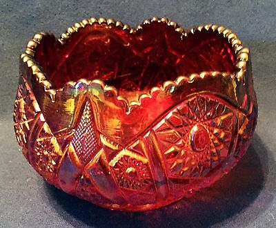 Vintage Indiana Glass Red Sunset Iridescent Heirloom Carnival Glass Center Bowl