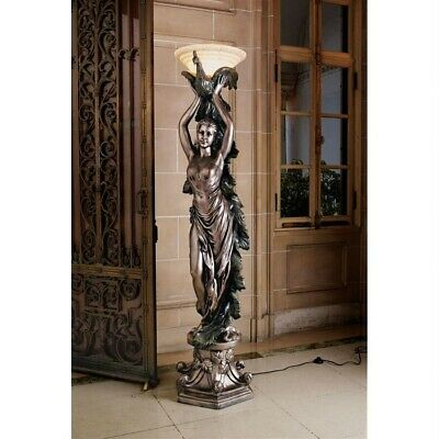 """Art Deco French Peacock Goddess Torchiere 74.5""""  Large Sculptural Floor Lamp"""