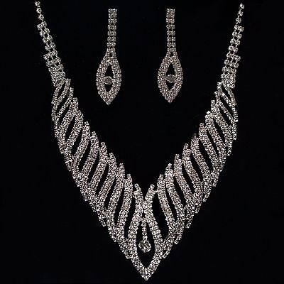 Silver Diamante Necklace Earring Set Costume Jewellery Bridal Prom Party Wedding