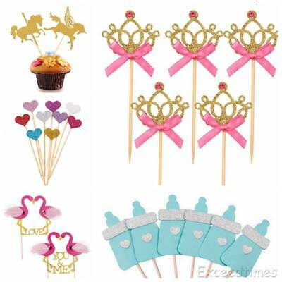 10X I AM ONE Shimmer Cupcake Cake Topper Baby Shower Pick Wedding Party Dec DIY