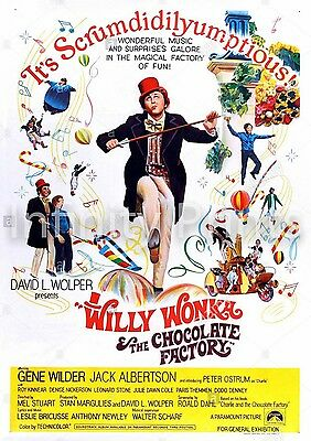 Willy Wonka and the Chocolate Factory Movie Film Poster B A3 A4