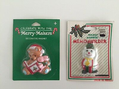 New Old Stock Christmas Magnets Bear and Snowman Cute Memo Holders in Packages