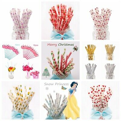25Pc Mixed Drink Paper Straws Fruit Shape Birthday Party Decor Wedding Supply