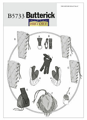 Renaissance Garb PATTERN Butterick 5733 Medieval LARP Greaves bag gloves pouch