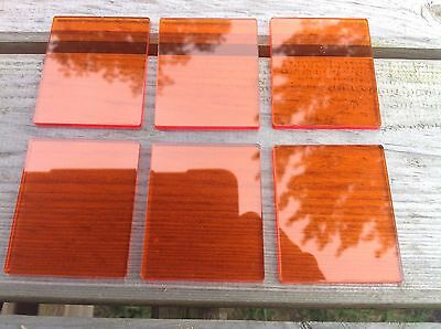 Acrylic stamping blocks, pack of 6 Orange ,3mm thick,4.5 x5.5cm, made in uk.