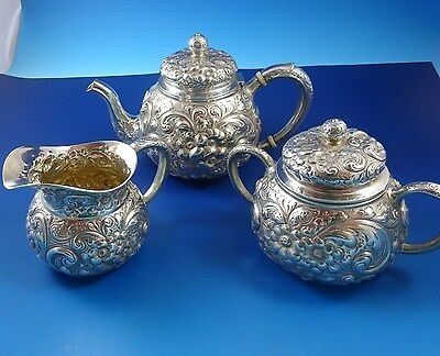 Sterling Silver Coffee Pot, Creamer & Sugar Bowl by Theodore B. Starr of NY