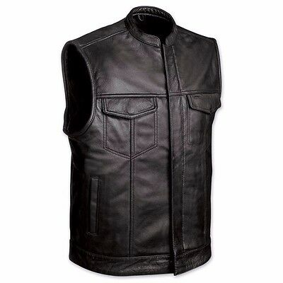 SOA Style Mens Classic Motorcycle Club Vest With Gun Pockets Both Sides