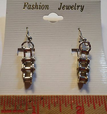 Vintage motorcycle chain link earrings lady rider biker chick silver chrome