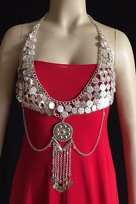 Silver Toned Belly Dance Coin Tribal Bra Top Costume Belly Dancing Coins Gypsy