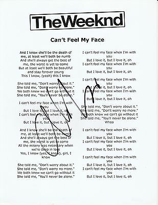 The Weeknd Signed 8.5x11 Lyrics Sheet Can't Feel My Face